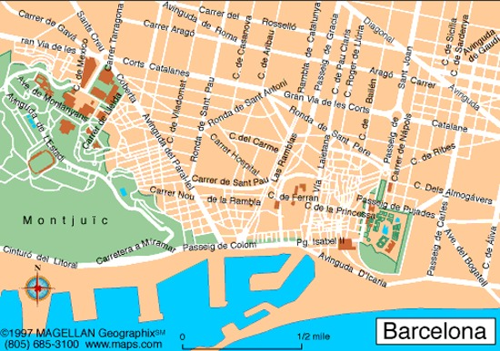 Map of Barcelona map for planning your holiday in Barcelona ...