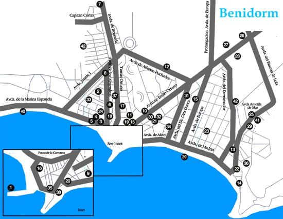 Map Of Spain Benidorm.Map Of Benidorm Map For Planning Your Holiday In Benidorm Benidorm